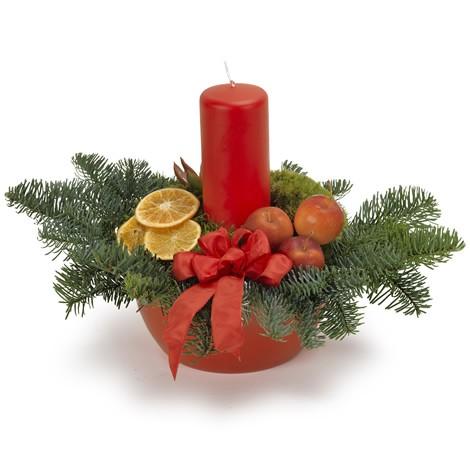 Adventsgesteck mit einzelner Kerze rot
