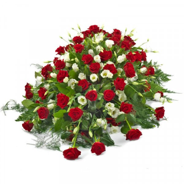 Trauergesteck Rote Rosen