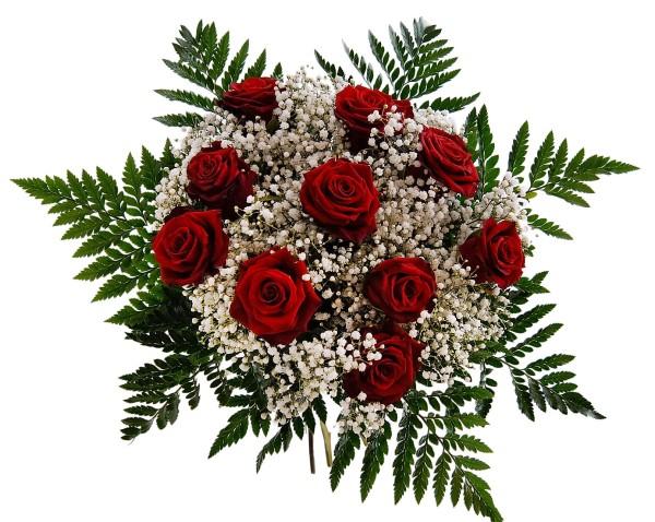Roter Rosenstrauß mit Schleierkraut